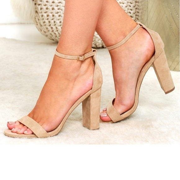 b5d0c9eaca2 Lulu s Shoes - TAYLOR NATURAL SUEDE ANKLE STRAP HEELS